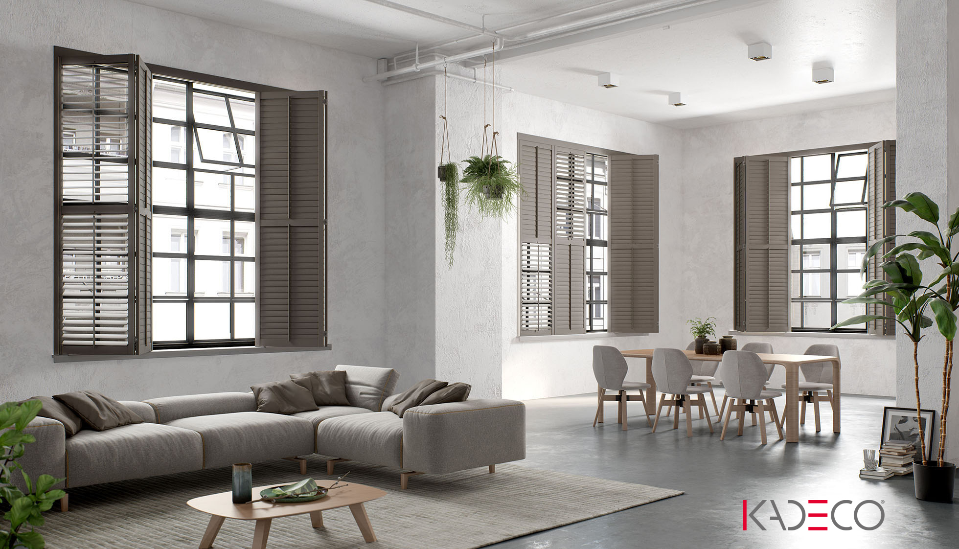 KADECO Shutter Faltklappen halb geöffnet im modernen ohnzimmer, Farbe braun